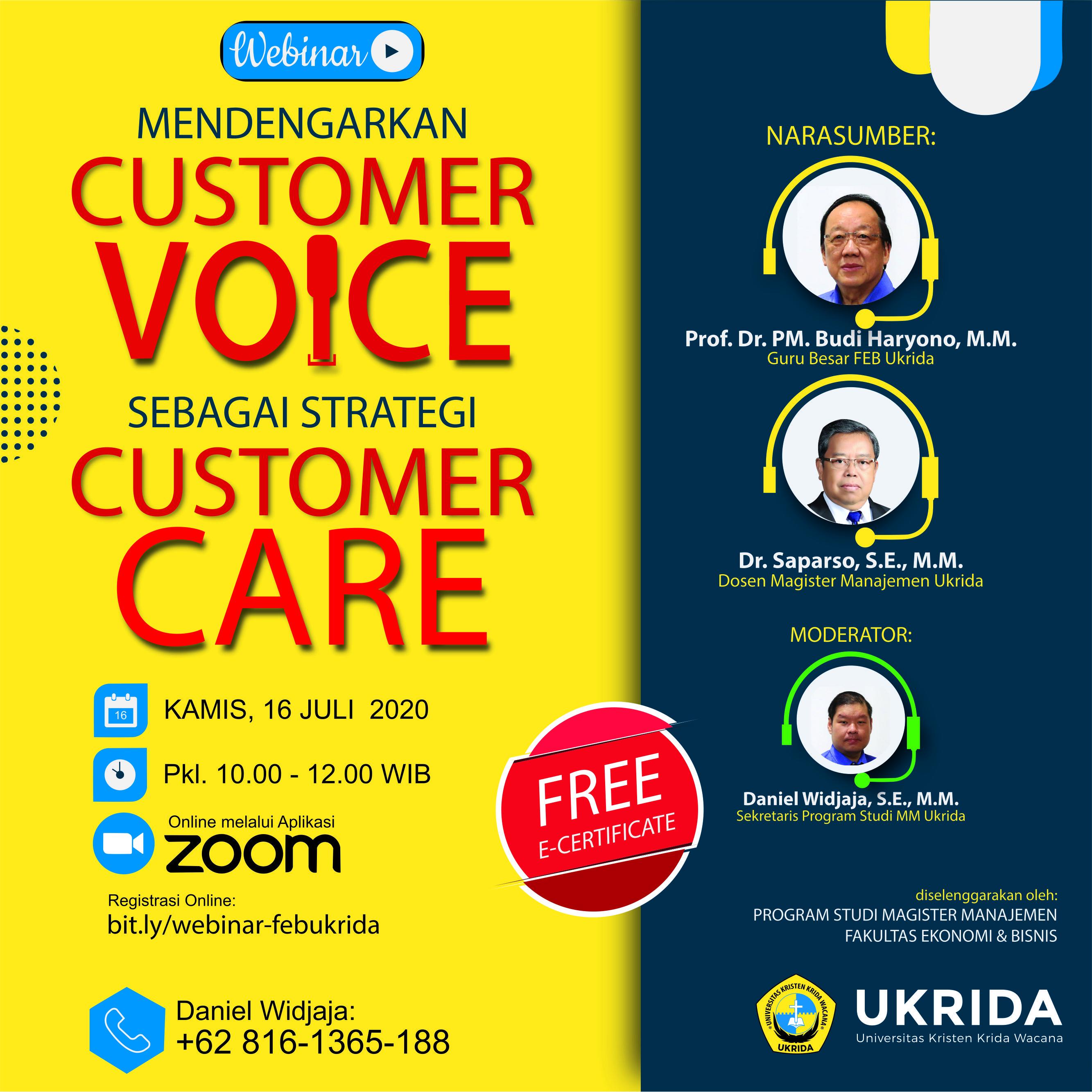 Webinar Mendengarkan Customer Voice Sebagai Strategi Customer Care Ukrida Ac Id